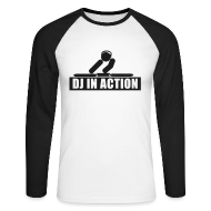 Long sleeve shirts ~ Men's Long Sleeve Baseball T-Shirt ~ DJ in Action with glow in the dark print