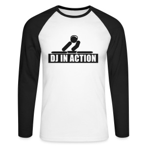 DJ in Action with glow in the dark print - Men's Long Sleeve Baseball T-Shirt