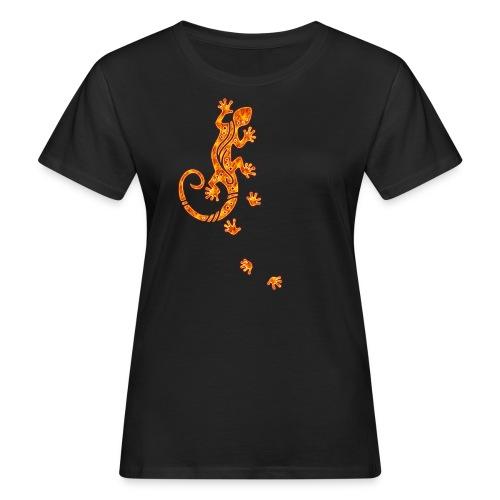 Running Gecko Fire   Frauen Shirt organic - Frauen Bio-T-Shirt