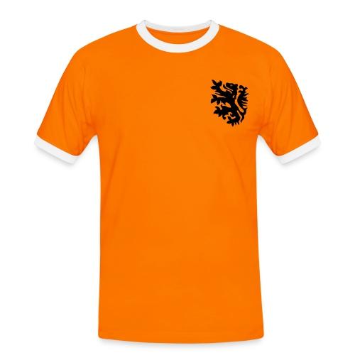 oranje polo retro leeuw met naam en rugnummer - Mannen contrastshirt