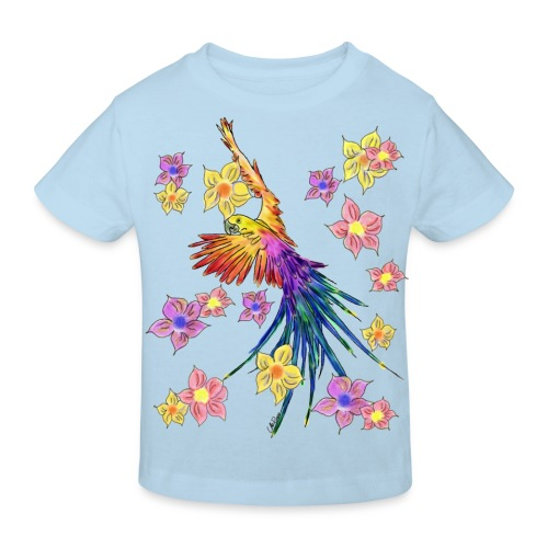 bunter Papagei mit Blumen - Kinder Bio-T-Shirt