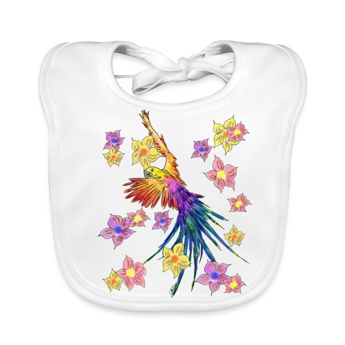 bunter Papagei mit Blumen - Baby Bio-Lätzchen
