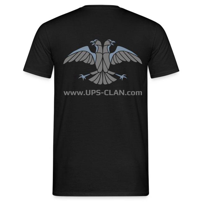 [UPS] Männer T-Shirt klassisch, schwarz, Aufdruck in Grau/Silber-Matt, PSN-ID vorne