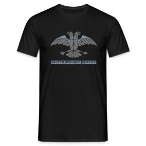 [UPS] Männer T-Shirt klassisch, schwarz, alternativer Aufdruck in Grau/Silber-Matt, PSN-ID hinten - Männer T-Shirt