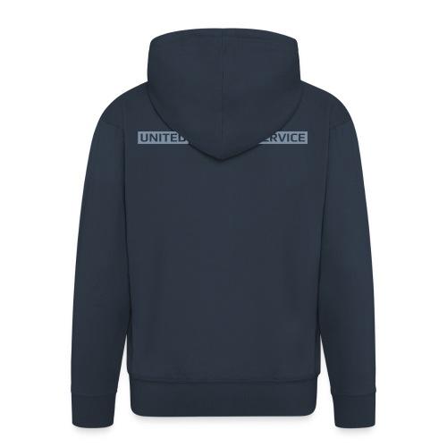 [UPS] Männer Kapuzenjacke, navy-blau, Aufdruck in Grau/Silber-Matt - Männer Premium Kapuzenjacke