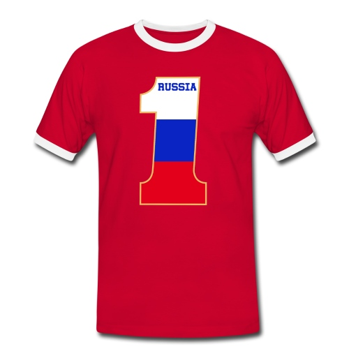 Russia Fanshirt Number One Red - Männer Kontrast-T-Shirt