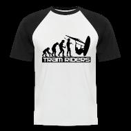 Tee shirts ~ Tee shirt baseball manches courtes Homme ~ Evolution noir blanc Homme