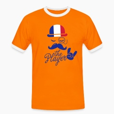 France retro gentleman sports player rock | olympics | football | Championship | Moustache | Flag European T-paidat