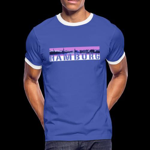 Hamburg: Binnen-Alsterpanorama - Männer Kontrast-T-Shirt