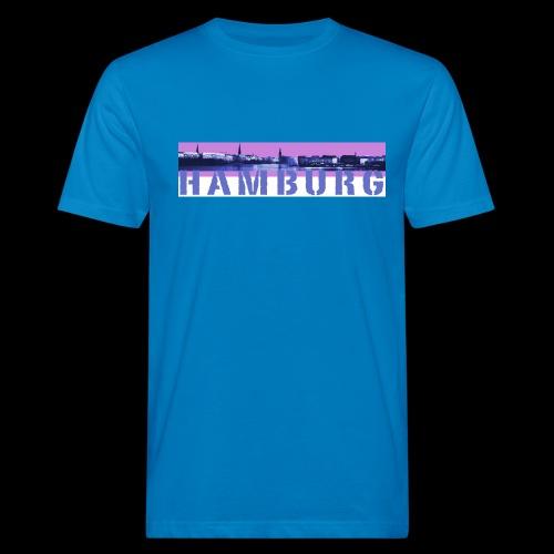 Alster Panorama mit Hamburg-Schriftzug - Männer Bio-T-Shirt