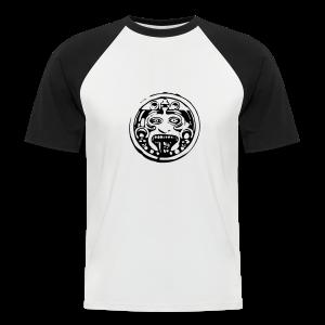 Mayan face zwart-wit - Mannen baseballshirt korte mouw
