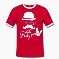 Fashionable retro gentleman player with moustache rock sport victory poker T-shirts