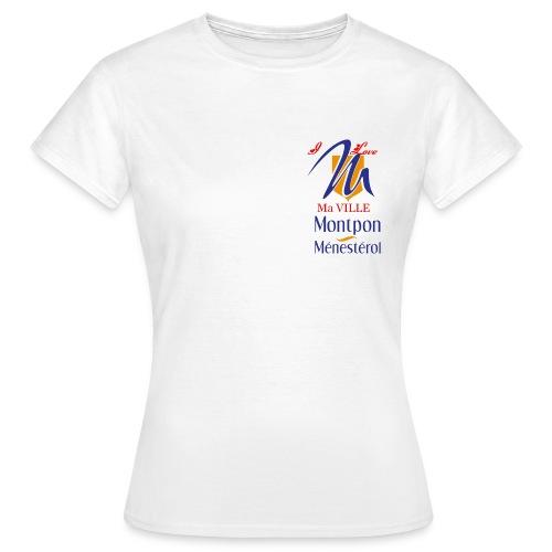T-SHIRT BLANC FEMME LOGO I LOVE MA VILLE MONTPON  - T-shirt Femme