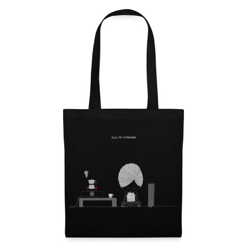 Morning Breathing+Coffee on BLK tote bag - Tote Bag