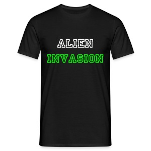 Men's black alien invasion white text - Men's T-Shirt