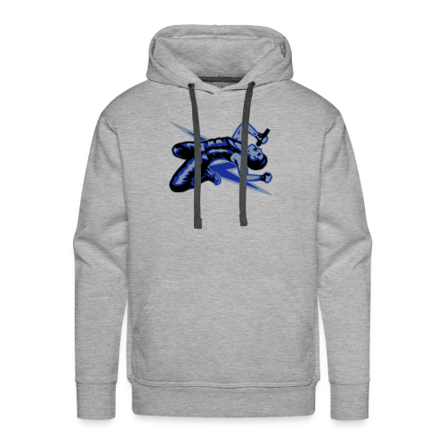 Rock God-Silver/Blue - Men's Premium Hoodie