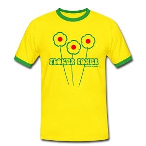 Flower Power - Kontrast-T-shirt herr