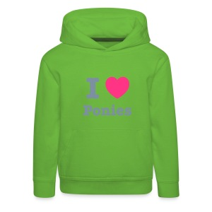 I love Ponies - silver metallic writing - Kids' Premium Hoodie