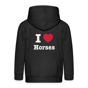 I love Horses - Kids' Premium Zip Hoodie