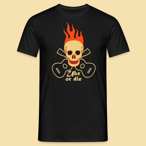 Menshirt: Burning Skul Uke or die (Motiv: beige/neonorange) - Männer T-Shirt
