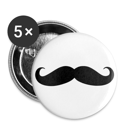 Moustache badges, 5 pack - Buttons small 25 mm