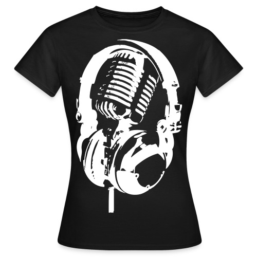 Rappublika Headphone Frauenshirt Schwarz - Frauen T-Shirt