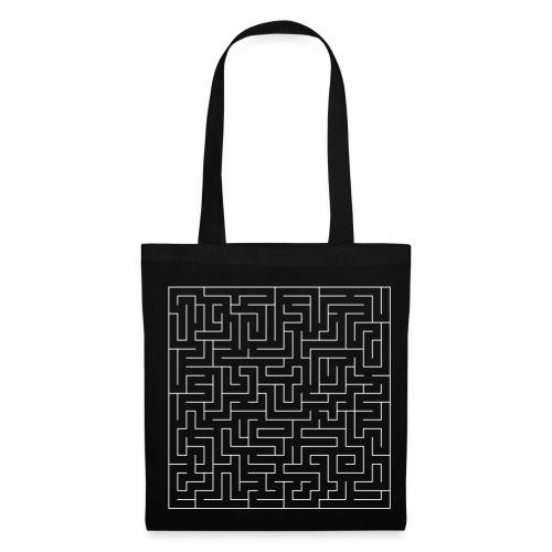 Labyrinth white on black bag - Tote Bag
