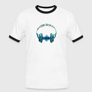 Music Wave Headphone / Musik Frequenz Kopfhörer W - Männer Kontrast-T-Shirt