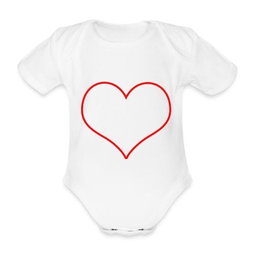 Coeur rouge transparent - Body bébé bio manches courtes