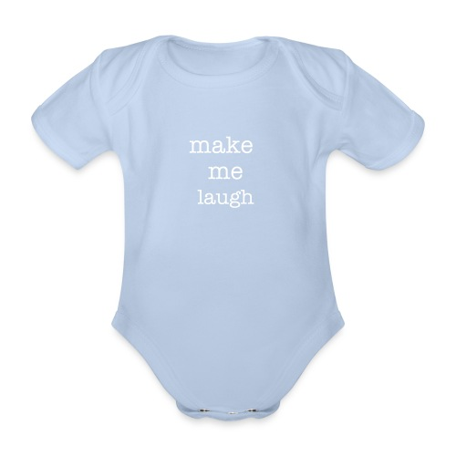 Organic Short-sleeved Baby Bodysuit - red,one piece,laugh,funny,baby