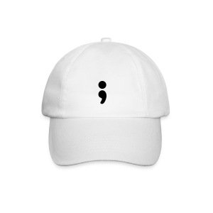 Semi Colon White Baseball Cap - Baseball Cap