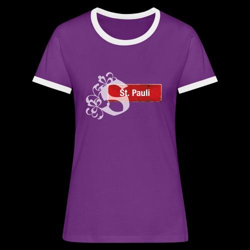 HH-St.Pauli-Schild mit Schmuck-Initial - Frauen Kontrast-T-Shirt