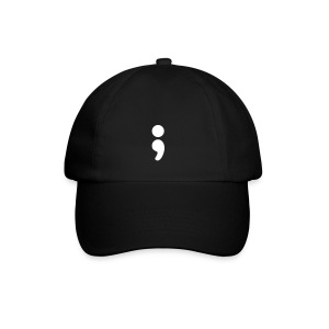 Semi Colon Black Baseball Cap - Baseball Cap