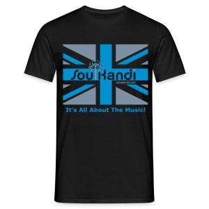 Mens Union Jack Classic Tee (Grey & Blue Print) Choose Your Colour Shirt Option. - Men's T-Shirt