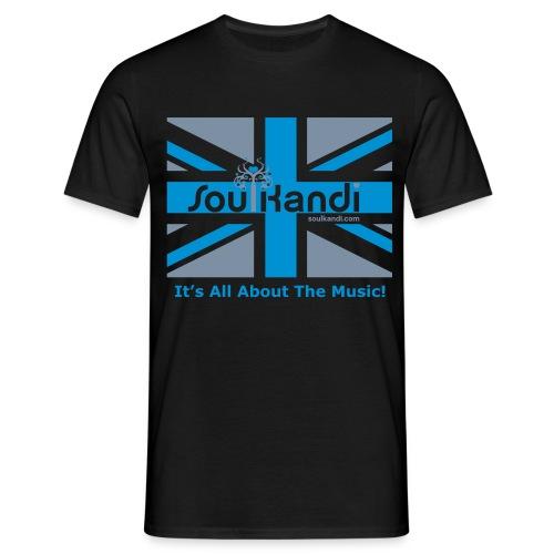 Mens Union Jack Classic Tee (Grey & Blue Print) Choose Your Colour Shirt Option. - Men's T-Shirt