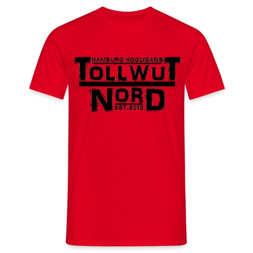 TOLLWUT NORD HAMBURG HOOLIGANS SUPPORT Männer T-Shirt (Rot) - Männer T-Shirt