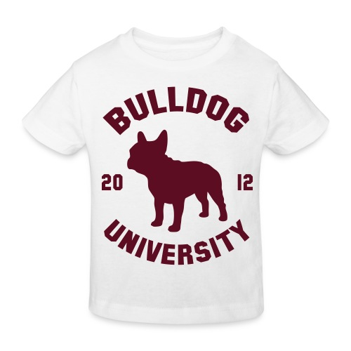 T shirt enfant imprimé Bulldog University ( rouge burgundy ) - T-shirt bio Enfant