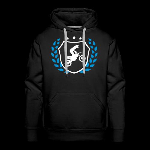 MX shield (bleu clair/blanc) - Sweat-shirt à capuche Premium pour hommes