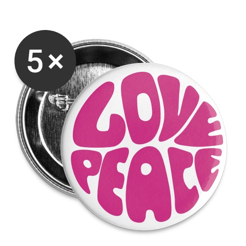Love Peace Budget - Buttons groß 56 mm (5er Pack)