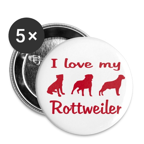 I Love my Rottweiler - Buttons groß 56 mm (5er Pack)