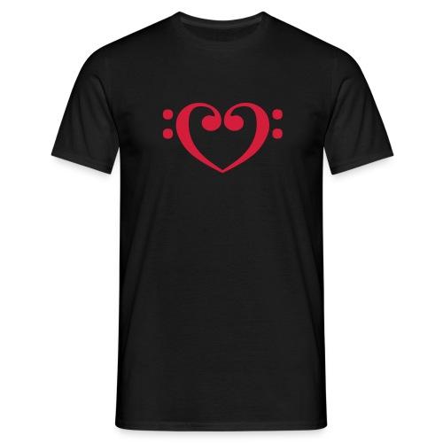 Menshirt: Bassschlüssel Herz - Männer T-Shirt