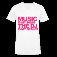 T-shirts ~ Mannen T-shirt met V-hals ~ Men V-hals: Jeff Residenza - Music Drug (neon pink)