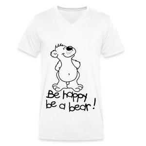 happy bear man - Mannen bio T-shirt met V-hals van Stanley & Stella