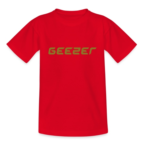 Geezer childrens t-shirt - red with gold text - Teenage T-Shirt