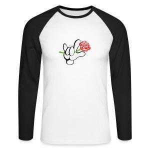 ILY Hand mit Rose - Männer Baseballshirt langarm