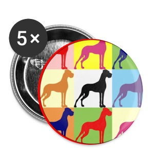 Neuer Button - Doggensilhouette pop art - Buttons groß 56 mm