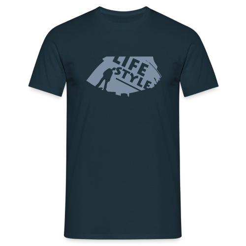 T-shrit bleu manches courtes avec motif life style - T-shirt Homme