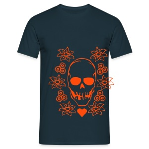 skull on flowers - Koszulka męska