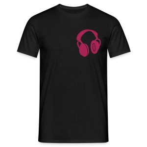 pink and black headphones T - Men's T-Shirt