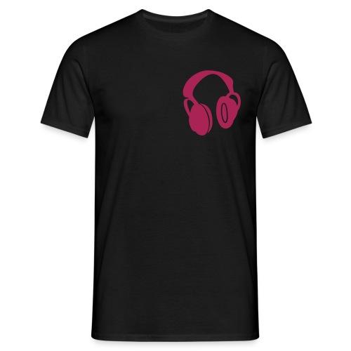 pink and black headphones T - Men's T-Shirt